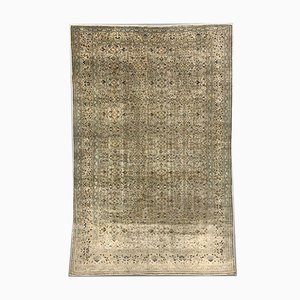 Large Turkish Hand-Knotted Distressed Beige Wool Rug, 1950s
