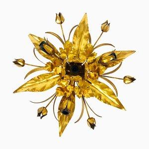 Golden Florentine Flower-Shape Flush Mount from Hans Kögl, Germany, 1970s