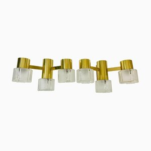 Swedish Brass and Glass Wall Lights, 1960s, Set of 2