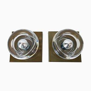 Wandlampen aus Messing & Glas von Cosack, 1960er, Set of x