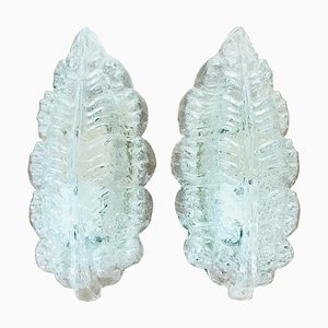 Glass Leaf Wall Lamps from Glashütte Limburg, 1960s, Set of 2