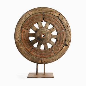 Wooden Wheel on Metal Stand, 1850s