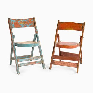 Weathered Wood Folding Chair, 1940s