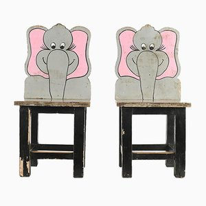 Wooden Elephant High Chair, 1940s