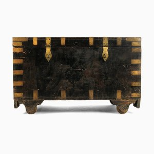 Wooden Chest with Brass Hardware, 1920s