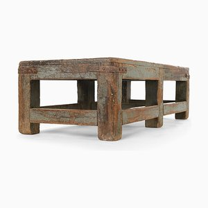 Patinated Wood Coffee Table, 1940s