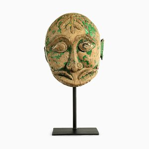 Weathered Wood Indian Mask, 1850s