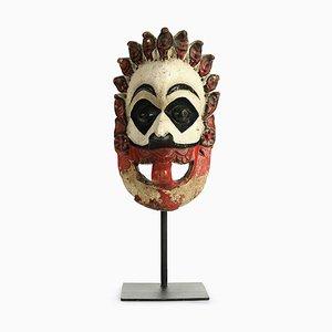 Sculpture Masque Indien en Bois Polychrome