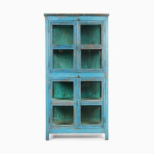 Glasvitrine aus Holz mit Blauer Patina, 1940er