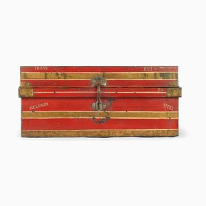 Red Metal Travel Trunk, 1940s
