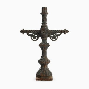 19th Century Crucifix Candle in Cast Iron