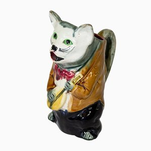 Antique Majolica Figural Cat Pitcher