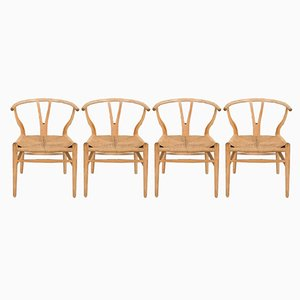 CH-24 Oak Wishbone Chairs by Hans Wegner for Carl Hansen & Søn, 1970s, Set of 4