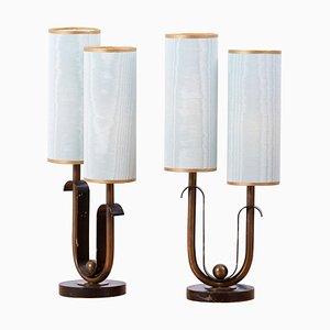 Französische Art Deco Tischlampen, 1940er, 2er Set