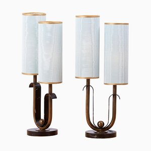 French Art Deco Table Lamps, 1940s, Set of 2