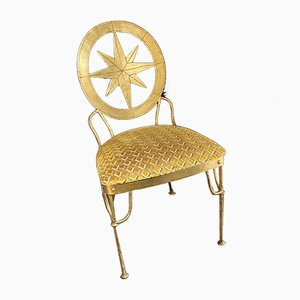 Vintage Gilt Metal Chair in Jane Churchill Fabric