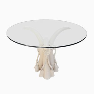 Hollywood Regency Style Faux Tusk Dining Table in the Style of Valenti, 1980s