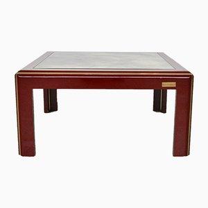 Table Basse Vintage Laquée Italienne avec Plateau Miroir & Détails en Laiton de Mario Sabot
