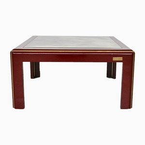 Vintage Italian Lacquered Coffee Table with Mirror Top & Brass Details from Mario Sabot