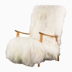 Mid-Century Danish High Back Lounge Chair in Long Sheepskin