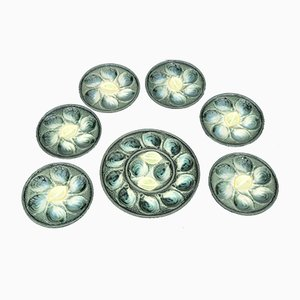 Glazed Ceramic Oyster Set from St. Clement, 1960s, Set of 7