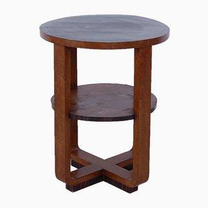Mesa de centro Art Déco redonda de madera nudosa, años 30