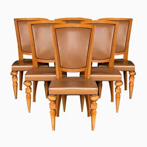 French Art Deco Oak Chairs with Original Leather, 1930s, Set of 6