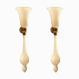 Applique grandi Torchiere in vetro di Murano bianco e oro nello stile di Venini, anni '60, set di 2