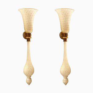 Large Torchiere Sconces in White & Gold Murano Glass in the Style of Venini, 1960s, Set of 2