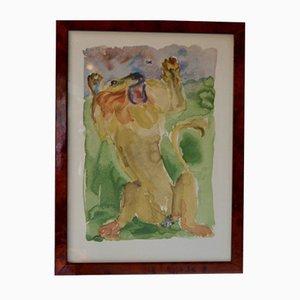 Lithografie Fabeln des Brunnens Der Löwe und die Mücke von Christian Caillard, 1960er