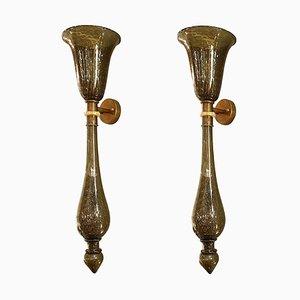 Applique grandi Torchiere in vetro di Murano grigio e dorato in stile veneziano, anni '60, set di 3