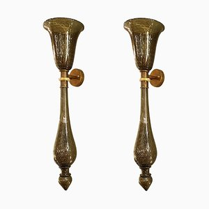 Large Torchiere Sconces in Gray & Gold-Leaf Murano Glass in the Style of Venini, 1960s, Set of 3