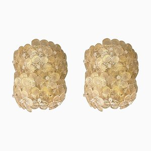 Mid-Century Modern Murano Clear & Gold Glass Flower Sconces from Barovier & Toso, 1970s, Set of 2