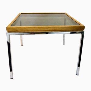Mesa de centro rectangular con vidrio ahumado y patas cromadas, años 70