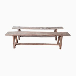 Vintage Rustic Benches, Set of 2
