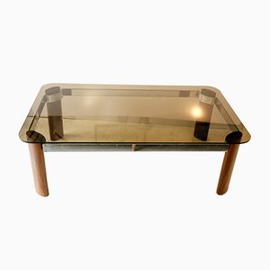 Smoked Glass, Palisander & Chrome-Plated Steel Coffee Table, 1970s