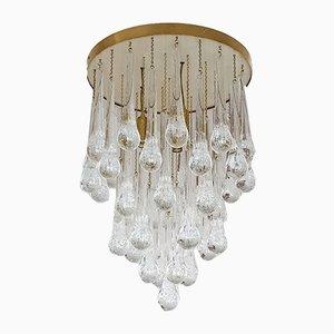 Lámpara de araña Mid-Century moderna de latón y cristal de Murano de Mazzega, años 80