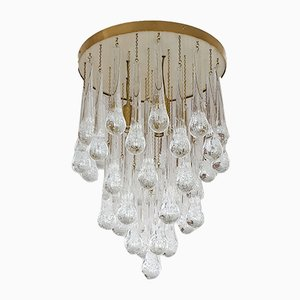 Mid-Century Modern Brass and Murano Clear Glass Drop Chandelier from Mazzega, 1980s