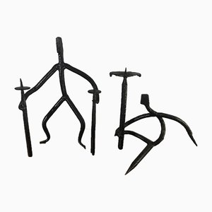 Wrought Iron Candleholders from Marolles, 1950s, Set of 2