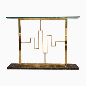 Konsolentisch aus Marmor, Messing & Glas, 1980er