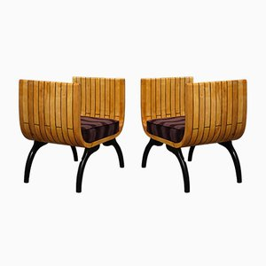 Poplar Wood and Brown Velvet Benches, 1940s, Set of 2
