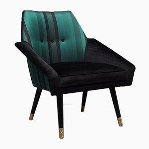 Velvet Silk and Brass Armchairs, 1950s, Set of 2