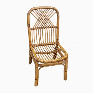 Italian Bamboo Dining Chairs, 1950s, Set of 4