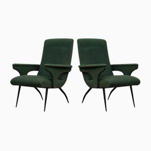Butacas de terciopelo verde de Gigi Radice para Minotti, años 50. Juego de 2