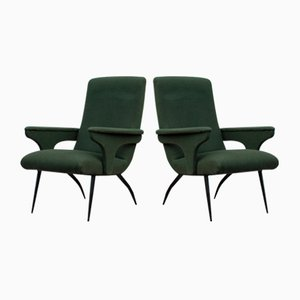 Green Velvet Armchairs by Gigi Radice for Minotti, 1950s, Set of 2