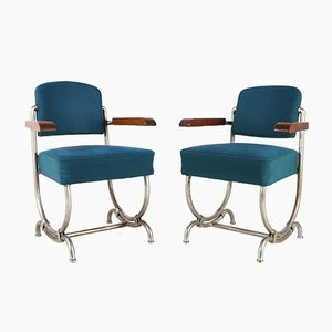 Vintage Art Deco Blue Armchairs, Set of 2