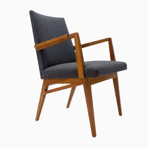 Mid-Century Modern Wood Armchair in Grey Fabric, Germany, 1950s