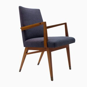 Mid-Century Modern Wood Armchair in Grey Fabric on Brass Feet, Germany, 1950s