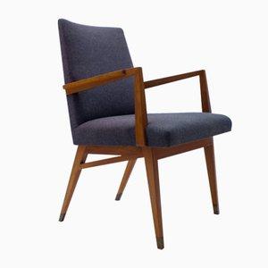 Mid-Century Modern Wood Armchair in Grey Fabric on Brass Feet, Germany, 1950s