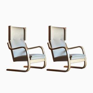 Finnische Vintage Modell 401 Armlehnstühle von Alvar Aalto für Artek, 2er Set
